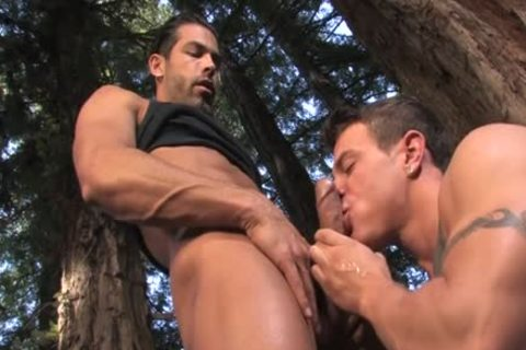 large dick gay Outdoor Sex And sperm flow