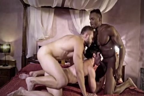 large cock gay trio With sperm flow